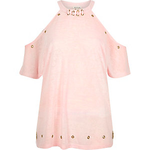 Light pink eyelet cold shoulder top