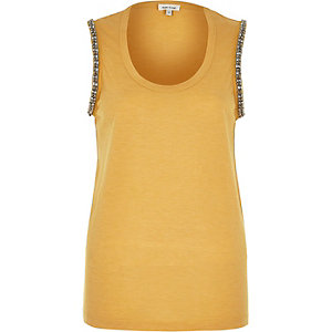 Yellow embellished arm tank top