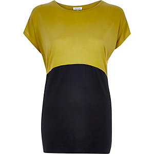 Lime curved colour block t-shirt