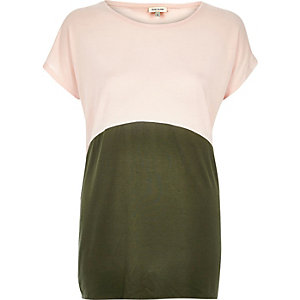 Pink curved colour block t-shirt