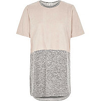 Pink colour block oversized t-shirt