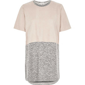 Pink colour block oversized t-shirt
