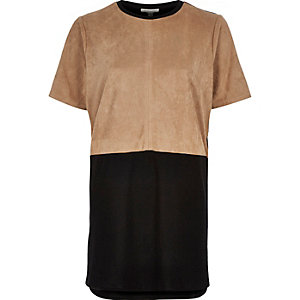 Tan and black suede panel oversized t-shirt