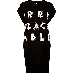 Black slogan print oversized t-shirt