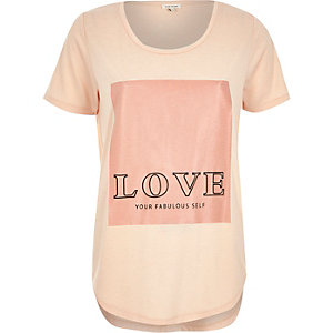 Pink love yourself slogan print t-shirt