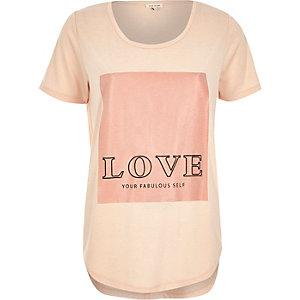 Pink love yourself slogan print t-shirt