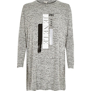 Grey marl print side split top