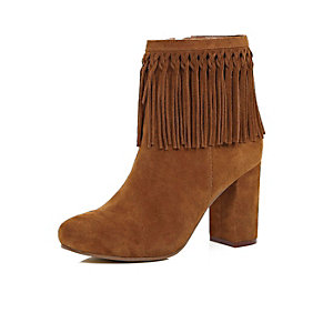Tan brown suede tassel ankle boots