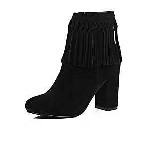 Black suede tassel ankle boots