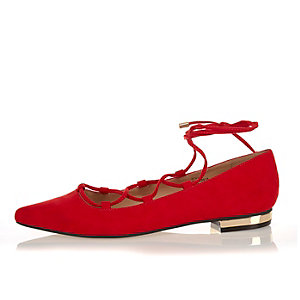 Red ghillie lace up pointed flats
