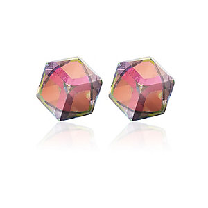 White perspex cube stud earrings