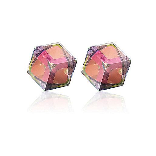 White perspex cube stud earrings