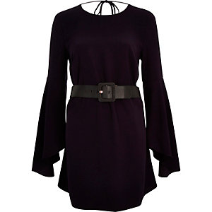 Purple belted swing sleeve dress