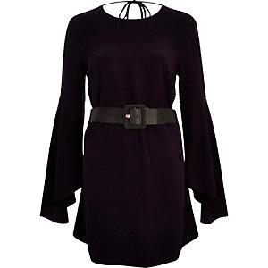 Purple belted swing sleeve dress