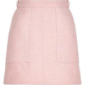 Pink woven A-line skirt