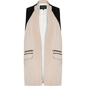 Cream smart sleeveless jacket