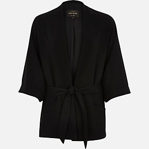 Black 3/4 sleeve kimono jacket