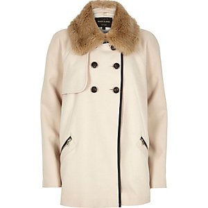 Cream 60s faux-fur collar peacoat