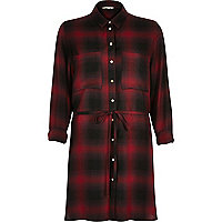 Red check belted shirt dress