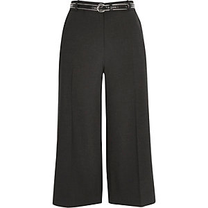 Dark grey belted culotte shorts
