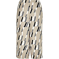 Beige abstract print culottes