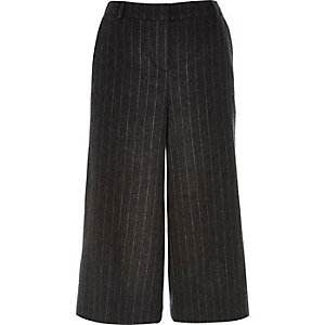 Grey pinstripe smart culottes