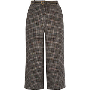 Grey check belted culotte shorts