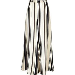 Beige stripe palazzo trousers