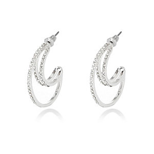 Silver tone triple row hoop earrings