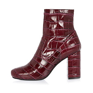 Dark red snake print heeled ankle boots
