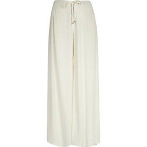 Cream drawstring palazzo pants