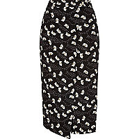 Black daisy print wrap front culottes