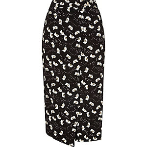 Black daisy print wrap front culottes
