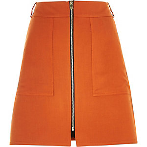 Orange A-line zip front skirt