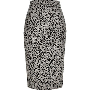 Grey lace pencil skirt