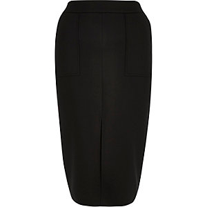 Black pocket front pencil skirt