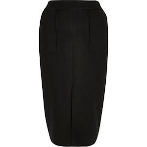 Black pocket front pencil skirt