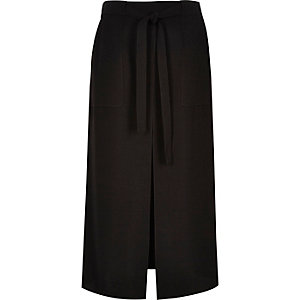 Black utility front split midi skirt