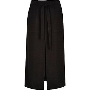 Black utility front split midi skirt