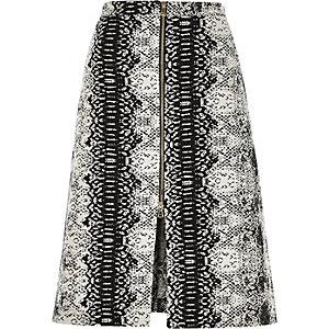 Black snake print A-line skirt
