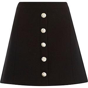 Black button-up A-line skirt