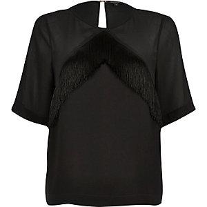 Black fringed t-shirt
