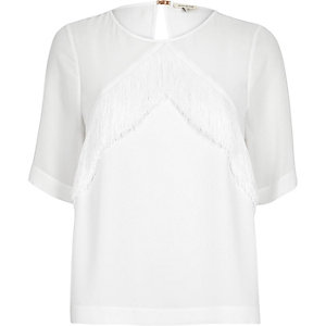 White fringed t-shirt