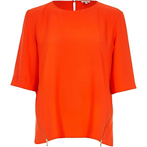 Orange zip side t-shirt
