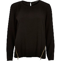 Black zip side top