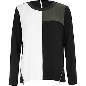Khaki colourblock long sleeve t-shirt