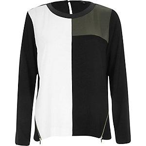 Khaki colourblock long sleeve t-shirt