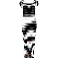 Navy stripe scoop back maxi dress