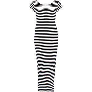 Navy stripe scoop back maxi dress