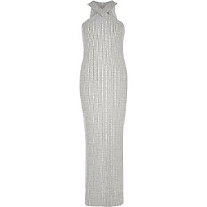 Grey ribbed cross neck maxi dress